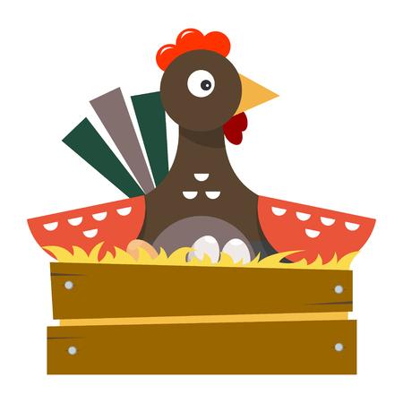 The hen incubates the eggs. Farm bird. Vector illustration isolated on white background. Illustration