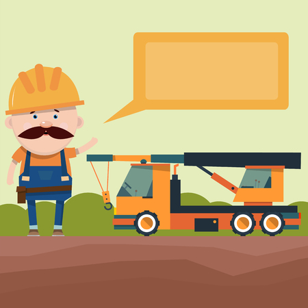 Presentation of construction equipment. Says the driver of the truck crane. Design of the brochure. Vector illustration in flat style.