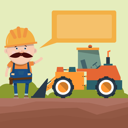 Presentation of construction equipment. The driver tells the loader with a bucket. Design of the brochure. Vector illustration in flat style.