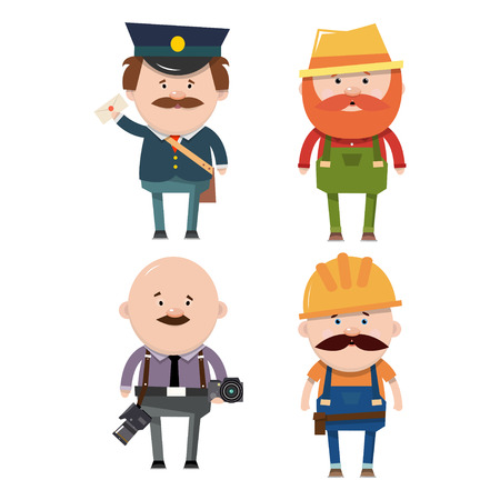 post office building: Set of occupations. The postman, a farmer, a photographer and a builder. Vector illustration in flat style isolated on white background. Illustration