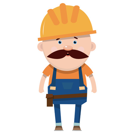 Cartoon builder in flat style. Worker in overalls. Vector illustration isolated on white background.