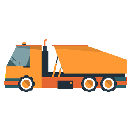 Truck is dump truck. Construction equipment in flat style. Vector illustration isolated on white background.