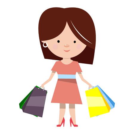 Mulher com compras. Personagem de desenho animado em estilo plano. Ilustração do vetor isolada no fundo branco.