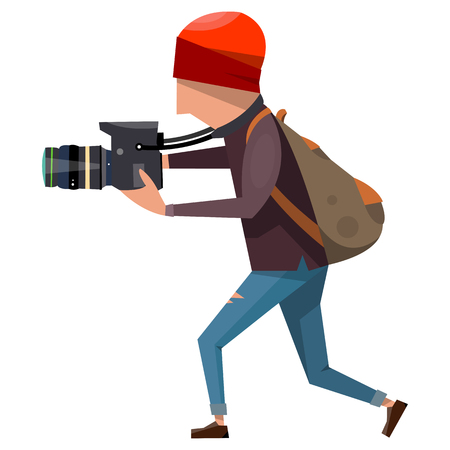 rucksack: Photographer c camera and a special backpack in the workflow. Vector illustration isolated on white background. Illustration