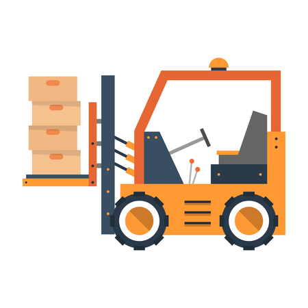 The truck in flat style lifts box. Construction equipment. Vector illustration isolated on white background.
