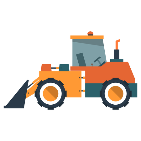 earth mover: Loader. Special machinery in flat style. Vector illustration isolated on white background.