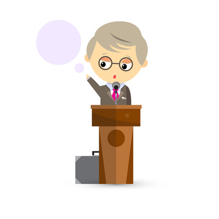 hustings: The Professor stands behind a podium with microphone on a white background. A lecture for students. Vector illustration.