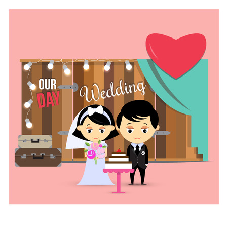 Happy bride and groom with a celebratory cake on wooden background photo zone with suitcases and bright lights. Vector illustration.