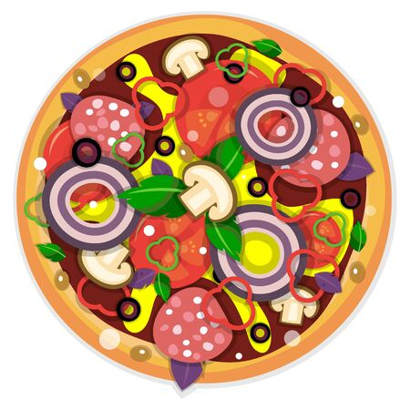 Italian pizza. Cooked recipe with tomatoes, onions, sausage and mushrooms. Vector illustration isolated on white background.