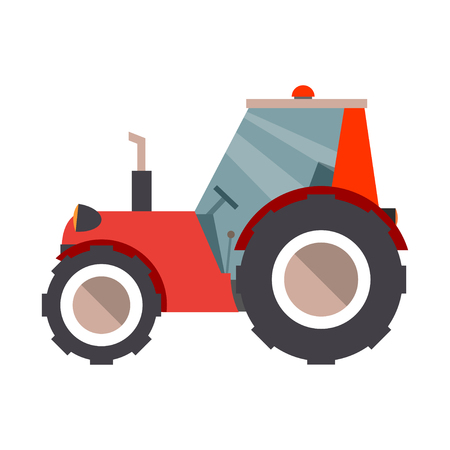 farm equipment: Cartoon tractor. Farm equipment in flat style. Vector graphics are isolated on a white background.