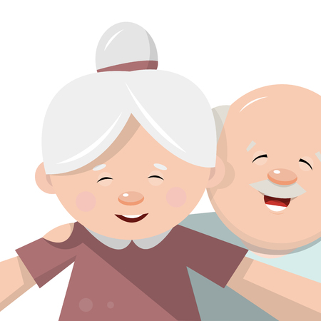 older couple: The grandmother together with the grandfather taking selfies. Photos in flat style. Vector illustration isolated on white background. Illustration