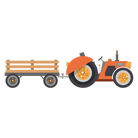 Cartoon tractor and trailer in flat style. Agricultural machinery and equipment. Vector illustration isolated on white background.