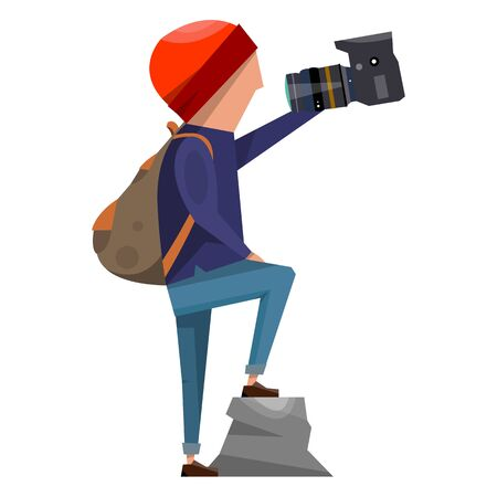 Cartoon photographer in a red hat taking a selfie. Vector illustration isolated on white background.