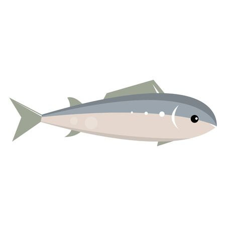 Marine fish with fins. Vector illustration isolated on white background.