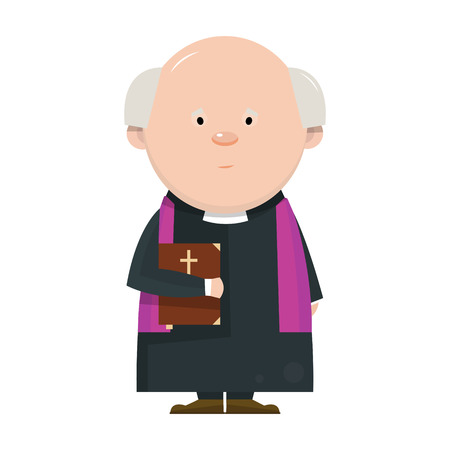 christian young: Cartoon Catholic priest isolated on white background. Vector illustration.