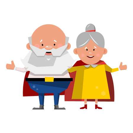 Super grandmother and super grandfather. Heroic family. Vector illustration isolated on white background. 일러스트