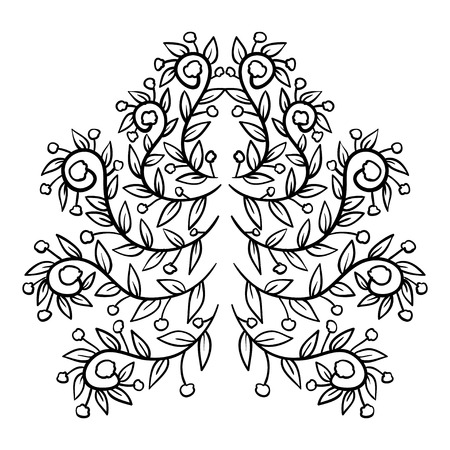 promotional products: Black floral ethnic ornament. Vector illustration for design fabric, wallpaper, and promotional products.