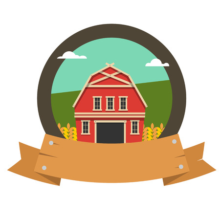 barn wood: Farm logo. The emblem of agriculture with a wooden frame. Vector illustration isolated on white background. Illustration