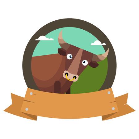 bullfighting: Cartoon bull.  logo in flat style. Vector illustration isolated on white background.