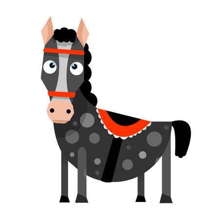 フラット スタイルで面白い漫画馬。ベクター グラフィックは、白い背景で隔離。