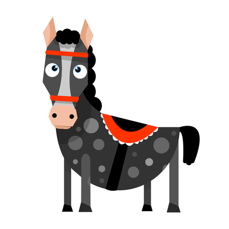 Funny cartoon horse in flat style. Vector illustration isolated on white background.