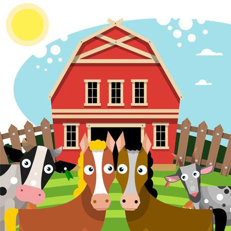 Rural landscape. Farm animals near the red barn. Vector illustration. Illustration
