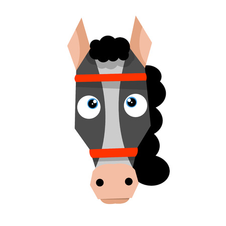 Cartoon horse head in flat style. Vector illustration isolated on white background.