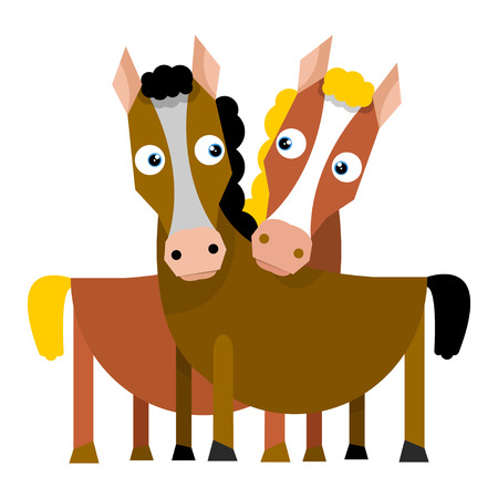 Two horses look at each other. Vector illustration in flat style on white background. Illustration