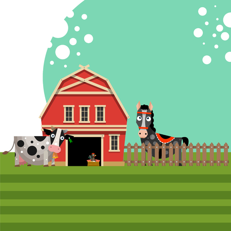 Farm. Red barn with fence and animals. The concept of rural life. Vector illustration in flat style.