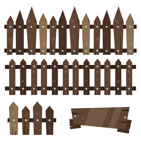 Set of wooden fences and barriers. Vector illustration isolated on white background.