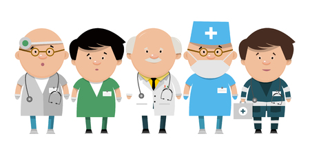 Recruitment of health workers. Doctors different directions in flat style. Vector illustration isolated on white background.