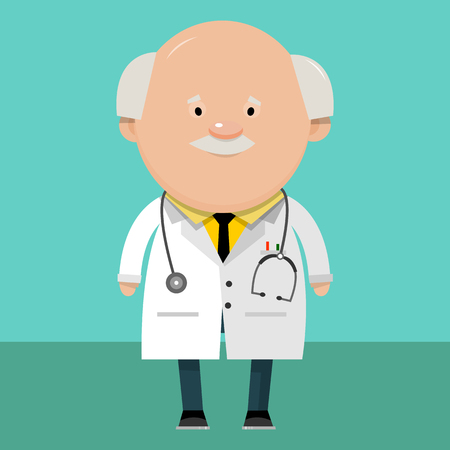 A doctor in a white coat. Cartoon character in flat style. The health worker. Vector illustration.