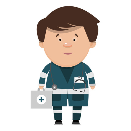 The doctor of the ambulance in a flat style. Vector illustration isolated on white background.
