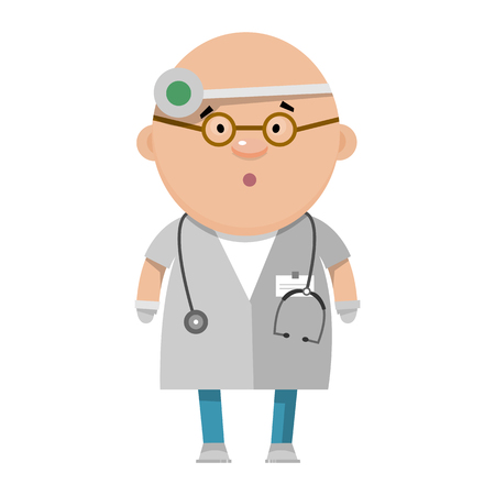 gastroenterologist: Cartoon optometrist. A medical worker in flat style. Vector illustration isolated on white background.