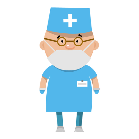 gastroenterologist: Cartoon nurse. A medical worker in flat style. Vector illustration isolated on white background.