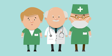 Recruitment of health workers. Doctors different directions in flat style. Vector illustration for your design.