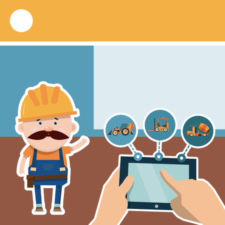 Building infographics. The driver tells the story of shop equipment. Vector illustration in flat style.
