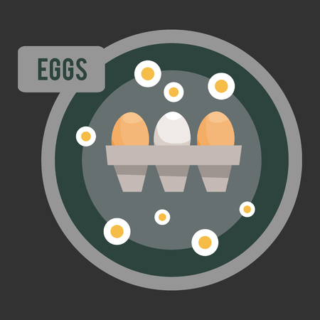 testicle: Chicken eggs in flat style. Vector illustration on a dark background. The design for the menu. Illustration