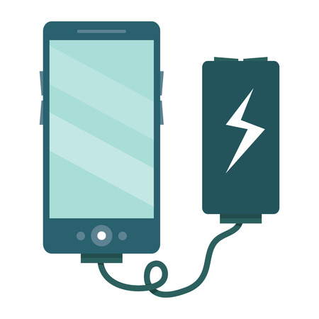 cell charger: The smartphone is charged via the charger. Vector illustration isolated on white background in flat style.