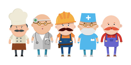 surgeons hat: A set of people different professions in flat style. Vector illustration isolated on white background.