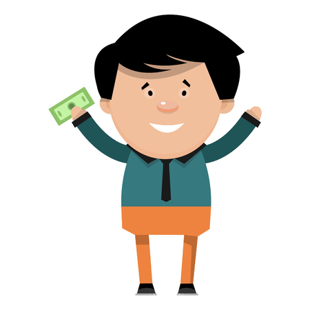 Cartoon cheerful businessman with money in his hand. Vector illustration of a character isolated on a white background.
