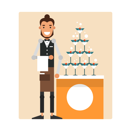 Cartoon garcon prepares a mound of champagne with a cherry. Design for your restaurant or cafe. Vector illustration isolated on white background.