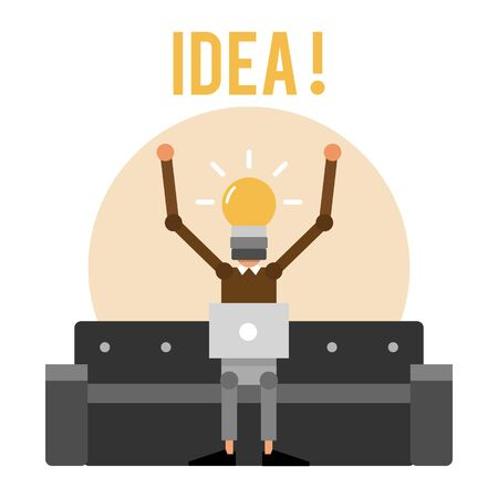 Cartoon inventor on sofa with light bulb instead of head. Inventing new ideas. Vector illustration isolated on white background. Illustration