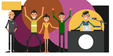 Disco in night club. Corporate event. Young people dance to the music of a DJ. Vector illustration in flat style.