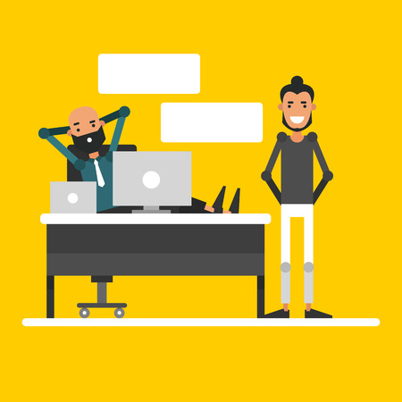 The conversation of two businessmen in the workplace. Cartoon characters are meeting. Vector illustration on yellow background.