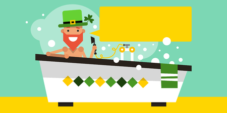 patron saint of ireland: Saint Patrick in the bathroom. National Irish holiday. Template banner. Vector illustration in flat style for your design. Illustration