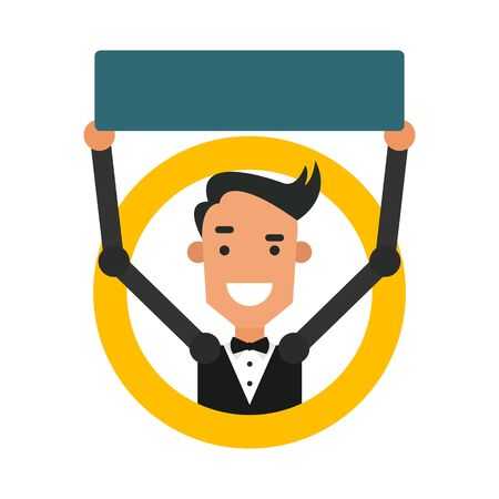 Icon cartoon guy. Vector illustration of a young man with a sign in flat style and blank space for inscriptions.