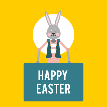 Happy Easter. Cartoon rabbit with signs on a yellow background. Template for holiday cards. Vector illustration.