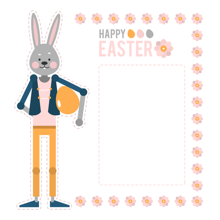 Happy easter cartoon rabbit holding a big pink egg template for happy easter cartoon rabbit with egg template cards for the oldest christian holiday m4hsunfo