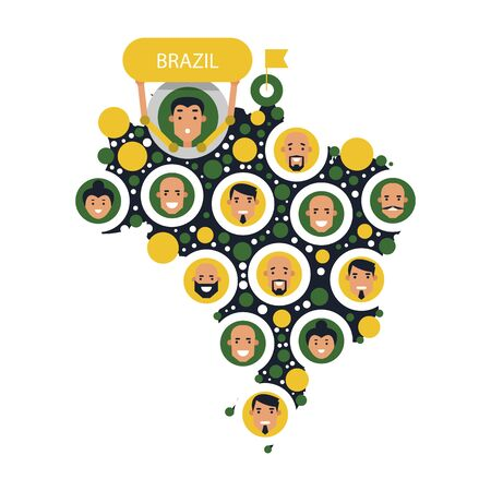 Set cartoon heads of people on the map of Brazil. Man and woman avatars. Vector illustration isolated on white background.